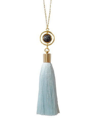 Curatelier Finesse Turquoise Art Silk Tassel Marble Howlite Globe Pendant Long Gold Chain Necklace