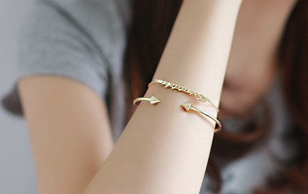 IOTC To The Point Arrow Plated Open Bangle in Gold (Front View)