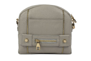 Velvet By Fridays On Curatelier Kate Genuine Calf Leather Ladies' Shoulder Bag in Grey (Front View Without Strap)