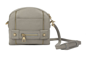 Velvet By Fridays On Curatelier Kate Genuine Calf Leather Ladies' Shoulder Bag in Grey (Front View With Strap)
