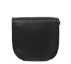 Velle Cresecendo Mini Saddle Crossbody Genuine Cow Leather Bag in Black (Back View)