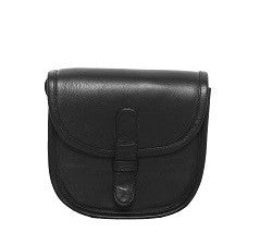 Velle Cresecendo Mini Saddle Crossbody Genuine Cow Leather Bag in Black (Front View)