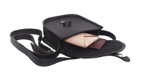 Velle Cresecendo Mini Saddle Crossbody Genuine Cow Leather Bag in Black (Interior View)