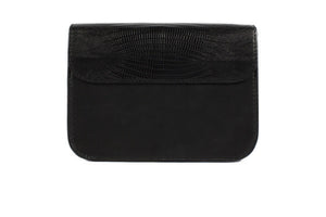 Velvet By Fridays On Curatelier Sophia Genuine Crocodile Embossed Calf Leather Shoulder Bag in Black (Back View Without Strap)