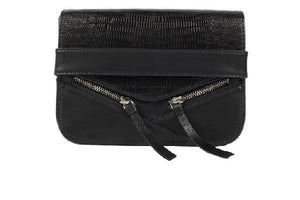 Velvet By Fridays On Curatelier Sophia Genuine Crocodile Embossed Calf Leather Shoulder Bag in Black (Front View Without Strap)