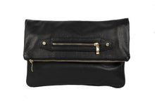 Load image into Gallery viewer, Velvet By Fridays On Curatelier Hayley Foldover Genuine Calf Leather Shoulder Bag in Black (Front View Without Strap)