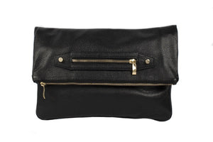 Velvet By Fridays On Curatelier Hayley Foldover Genuine Calf Leather Shoulder Bag in Black (Front View Without Strap)