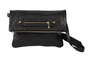 Velvet By Fridays On Curatelier Hayley Foldover Genuine Calf Leather Shoulder Bag in Black (Front View With Strap)