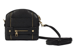 Velvet By Fridays On Curatelier Kate Genuine Calf Leather Ladies' Shoulder Bag in Black (Front View With Strap)