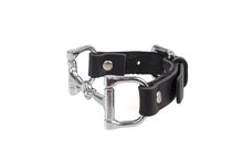 Load image into Gallery viewer, Ideana Equestrian Horse Bit Genuine Leather Bracelet in Black/Silver (Side View)