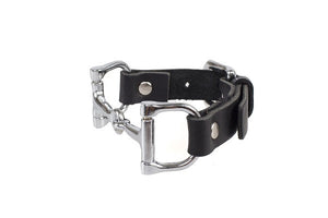 Ideana Equestrian Horse Bit Genuine Leather Bracelet in Black/Silver (Side View)