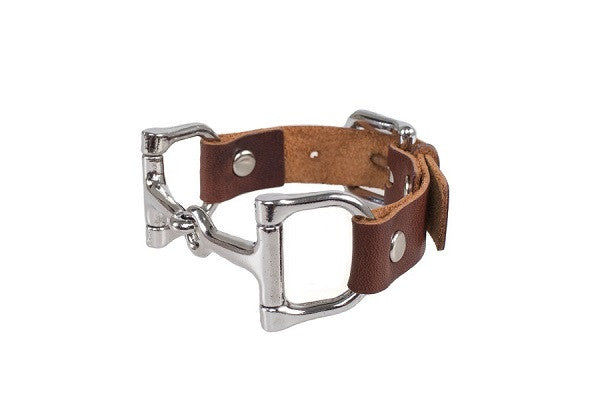 Ideana Equestrian Horse Bit Genuine Leather Bracelet in Dark Brown/Silver (Side View)