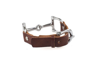 Ideana Equestrian Horse Bit Genuine Leather Bracelet in Dark Brown/Silver (Back View)