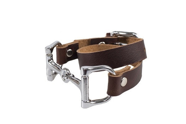 SIdeana Equestrian Horse Bit Genuine Leather Double Wrap Layer Bracelet in Dark Brown (Side View)