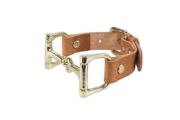 Ideana Equestrian Horse Bit Genuine Leather Bracelet in Tan/Gold (Side View)
