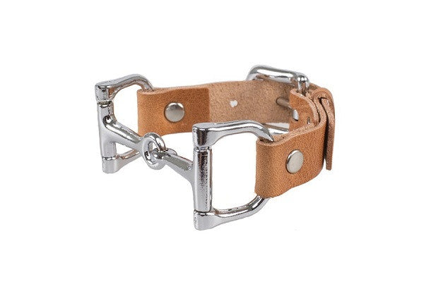 Ideana Equestrian Horse Bit Genuine Leather Bracelet in Tan/Silver (Side View)