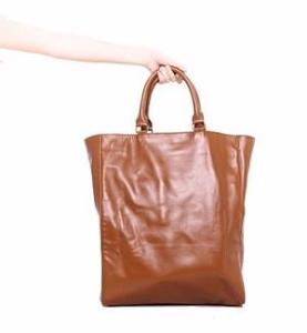 Velle Riley Oversize Genuine Leather Tote Bag in Dark Tan (Front View)