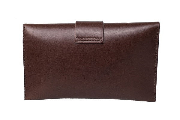 Ecocollective Australia Nadia Minimalist Flap Clutch in Dark Chocolate Vegetable Tan Leather (Front View(