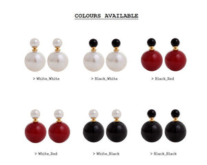 IOTC Double-Sided Pearl Ball Earrings Assorted Colours (Front View)