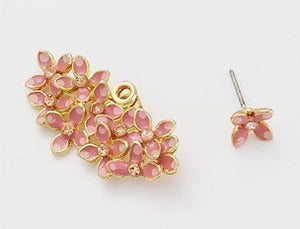 IOTC Floral Bouquet Enamel Crystal Earrings in Pink (Flat View)