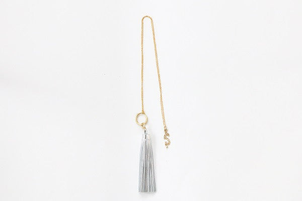 Curatelier Eternity Silver Leather Tassel Long Gold Chain Necklace