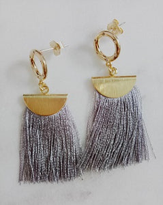 Curatelier Humility Round Crystal Half Moon Grey Silk Thread Tassel Earrings