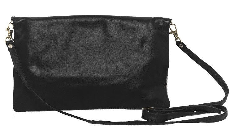 Aehee New York on Curatelier Duo-Tone Foldover Crossbody Genuine Leather Bag in Python Embossed Leather/Black Leather (Front View)