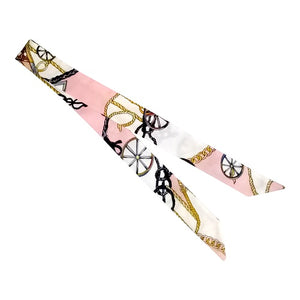 Curatelier Interlace Bag Handle Ribbon Scarf in The Wheel Series In Pink