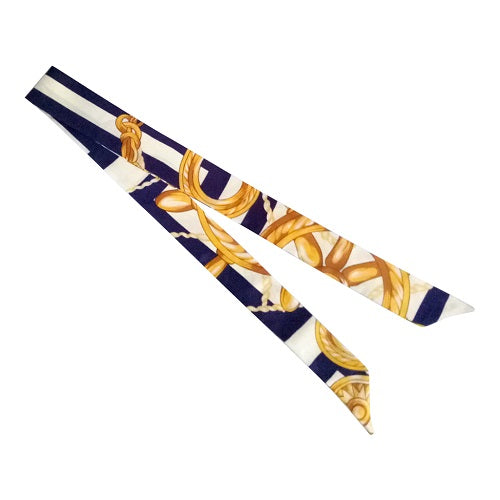 Curatelier Interlace Bag Handle Ribbon Scarf In The Rope Series In Navy