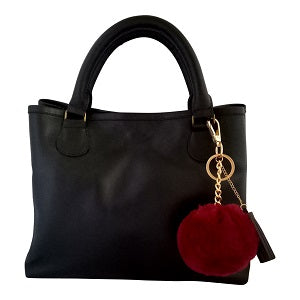 Velle Bella Rose Petite Black Cow Leather Tote Bag With Removable Adjustable Shoulder Strap (Front View)