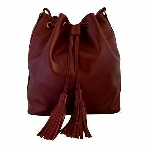 Velle Dahlia Medium Bucket Bag With Tassel Drawstring in Maroon Cow Leather (Front View)