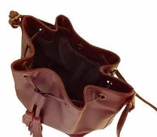 Load image into Gallery viewer, Velle Brooke Petite Bucket Bag With Tassel Drawstring in Maroon Cow Leather (Interior View)