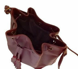 Velle Dahlia Medium Bucket Bag With Tassel Drawstring in Maroon Cow Leather (Interior View)