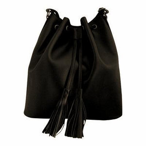 Velle Dahlia Medium Bucket Bag With Tassel Drawstring in Black Cow Leather (Front View)