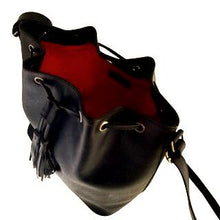 Load image into Gallery viewer, Velle Brooke Petite Bucket Bag With Tassel Drawstring in Black Cow Leather (Interior View)