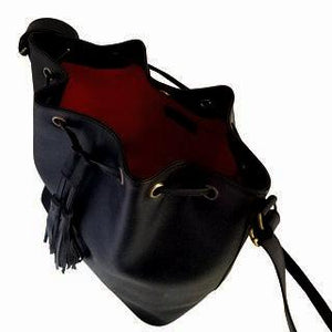 Velle Dahlia Medium Bucket Bag With Tassel Drawstring in Black Cow Leather (Interior View)