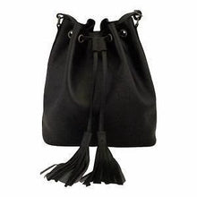 Load image into Gallery viewer, Velle Brooke Petite Bucket Bag With Tassel Drawstring in Black Cow Leather (Front View)