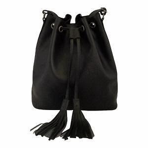 Velle Brooke Petite Bucket Bag With Tassel Drawstring in Black Cow Leather (Front View)