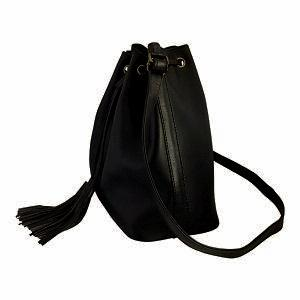 Velle Brooke Petite Bucket Bag With Tassel Drawstring in Black Cow Leather (Side View)