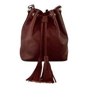 Velle Brooke Petite Bucket Bag With Tassel Drawstring in Maroon Cow Leather (Front View)