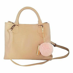 Velle Bella Rose Petite Beige Cow Leather Tote Bag With Removable Adjustable Shoulder Strap (Front View)