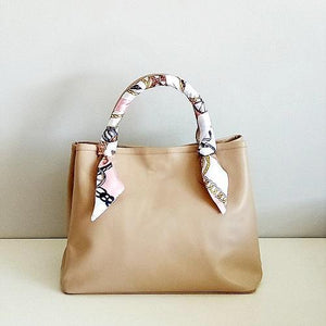 Velle Bella Rose Petite Beige Cow Leather Tote Bag With Removable Adjustable Shoulder Strap With Ribbon Scarf
