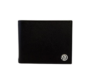 Curatelier Brooklyn Duo Texture Bifold Money Clip Wallet in Black Saffiano and Smooth Calf Leathers