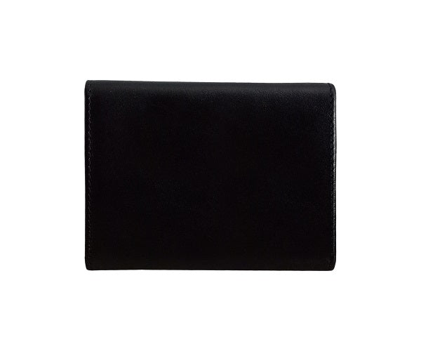 Curatelier Taylor Duo Texture Business Card Case in Black Saffiano and Smooth Calf Leathers