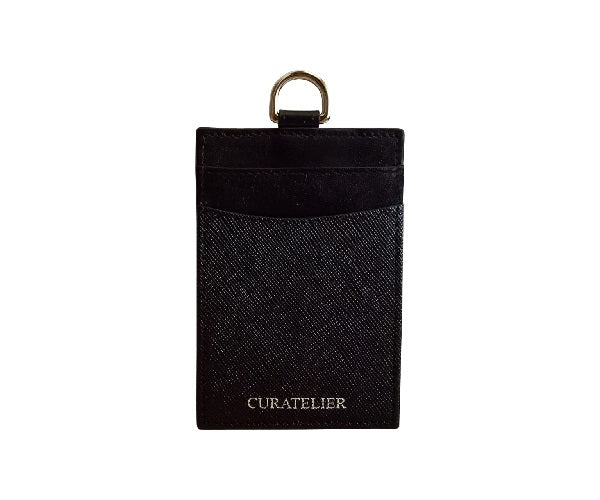 Curatelier Hayden Duo Texture Lanyard Cardholder in Black Saffiano and Smooth Calf Leathers