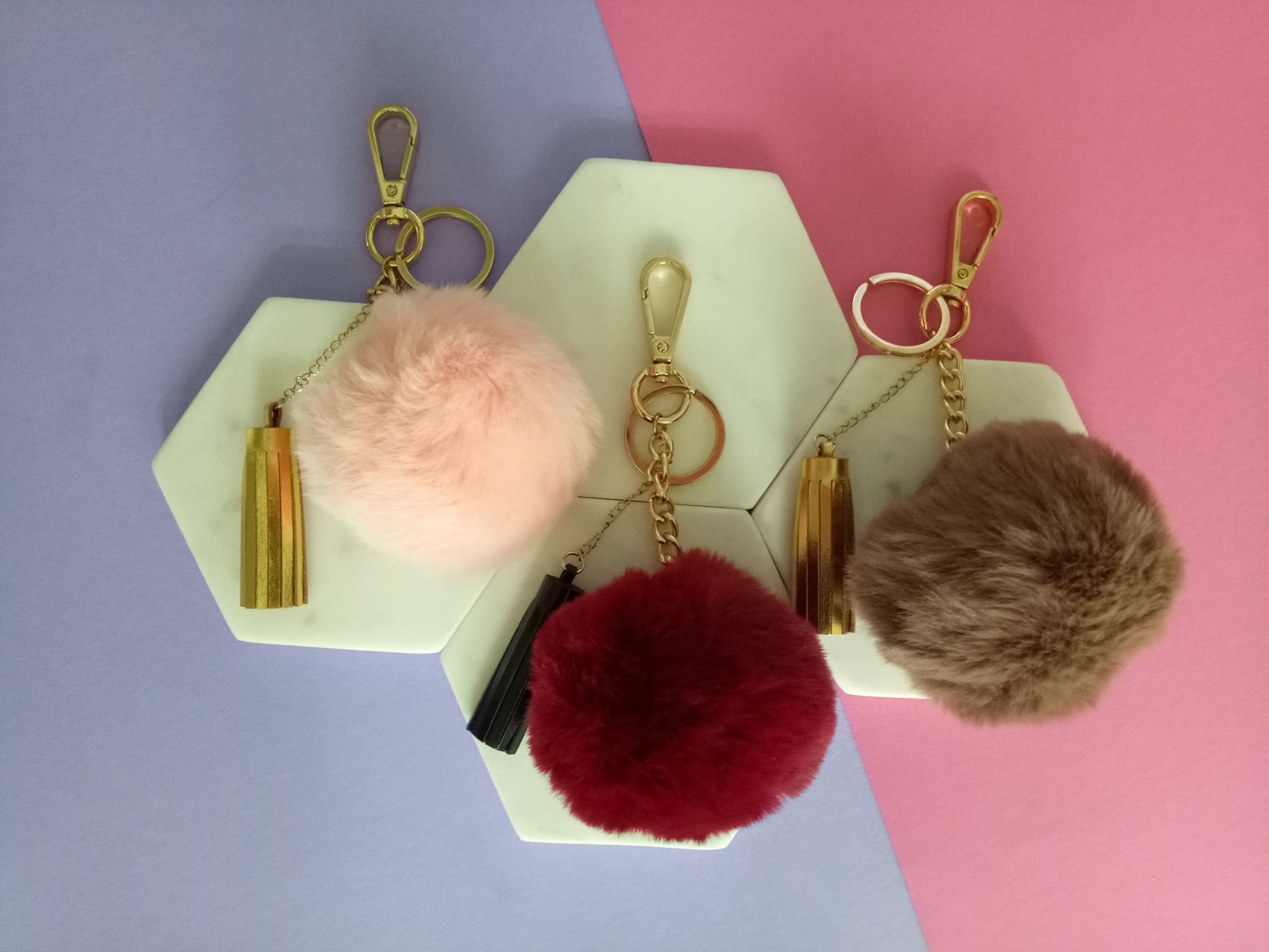a1188893e Curatelier Gloria Faux Fur Pom Pom Ball Leather Tassel Key Ring Bag Charm  (More Colours Available)