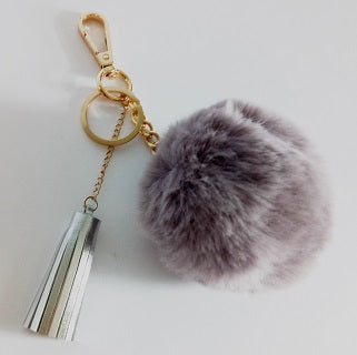 Curatelier Bethany Faux Fur Pom Pom Ball Leather Tassel Key Ring Bag Charm (Grey/Silver)
