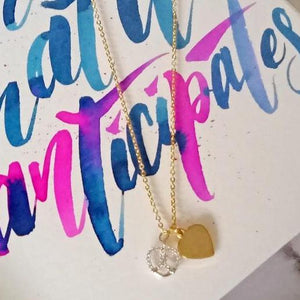 Curatelier Personalised Cubic Crystal Silver Heart Pretzel Pendant With Gold Heart Charm And Gold Necklace
