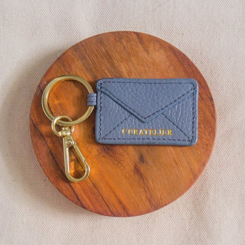 Curatelier Blue Leather Envelope Keychain Bag Charm (Blessed)