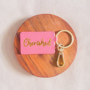 Curatelier Pink Leather Envelope Keychain Bag Charm (Cherished)